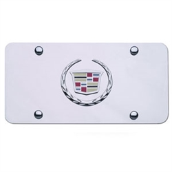 Cadillac License Plate with Wreath and Crest Logo