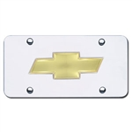Chrome License Plate - Gold Chevy Logo