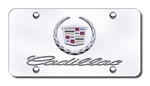 Cadillac License Plate with Wreath and Crest Logo with Cadillac Script