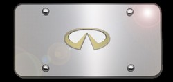 Infiniti Chrome License Plate with Gold Infiniti Logo