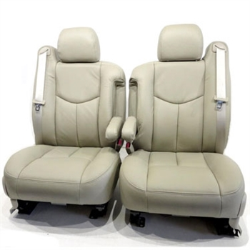 GMC Sierra REGULAR CAB Katzkin Leather Seat Upholstery (3 passenger front seat with two piece center armrest), 2003, 2004, 2005, 2006