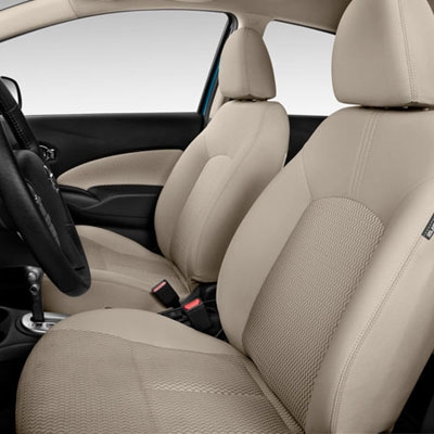 NISSAN VERSA 1.6S / 1.8S / SV SEDAN Katzkin Leather Seat Upholstery, 2012, 2013, 2014, 2015 (with removable front headrests, solid rear seat)