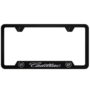 Cadillac Script Laser Etched Black License Plate Frame