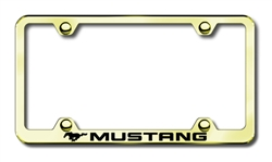 Ford Mustang Logo Premium Gold License Plate Frame