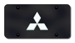 Mitsubishi Logo License Plate - Black and Chrome
