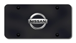 Nissan Logo License Plate - Black with Chrome Logo