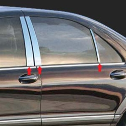 Mercedes S-Class Sedan Chrome Pillar Post Trim, 1999, 2000, 2001, 2002, 2003, 2004, 2005, 2006