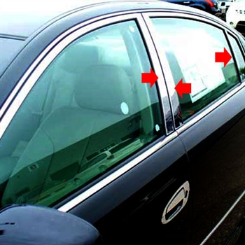 Nissan Sentra Chrome Pillar Posts, 6pc. Set, 2000, 2001, 2002, 2003, 2004, 2005, 2006