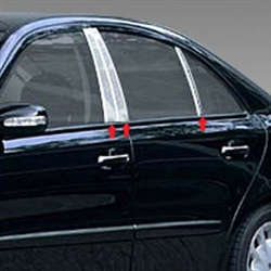 Mercedes E Class Sedan Chrome Pillar Post Trim, 2003, 2004, 2005, 2006, 2007, 2008, 2009