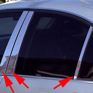 BMW 3-Series Sedan Chrome Pillar Post Trim, 2006, 2007, 2008, 2009, 2010, 2011, 2012