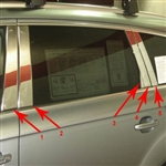 Audi Q7 Chrome Pillar Post Trim, 10pc  2007, 2008, 2009, 2010, 2011, 2012, 2013, 2014, 2015