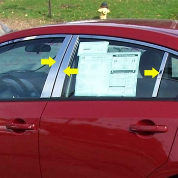 Nissan Sentra Chrome Pillar Post Trim, 6pc. Set, 2007, 2008, 2009, 2010, 201, 2012