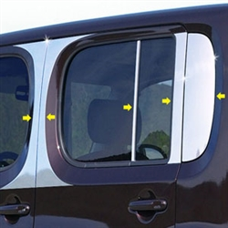 Nissan Cube Chrome Pillar Post Trim, 2009, 2010, 2011, 2012, 2013, 2014