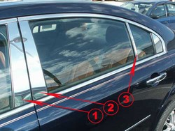 Saturn Aura Chrome Pillar Post Trim, 6 piece set, 2007, 2008, 2009
