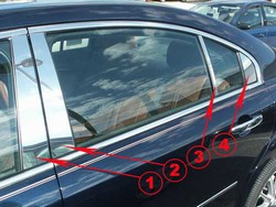 Saturn Aura Chrome Pillar Post Trim, 8 piece set, 2007, 2008, 2009