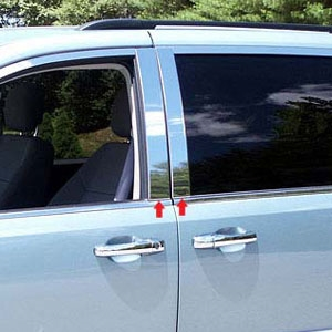 Dodge Grand Caravan Chrome Pillar Post Trim, 2008, 2009, 2010, 2011, 2012, 2013, 2014, 2015, 2016, 2017