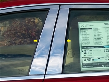 Cadillac CTS Sedan Chrome Pillar Post Trim, 4pc short, 2014, 2015, 2016, 2017