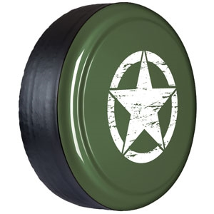 Jeep Wrangler Color Matched with Distressed Star Hard-Rigid Tire Cover for 2007-2017