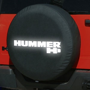 Hummer H3 Soft Black Denim Reflective Spare Tire Cover