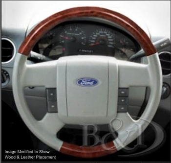 Ford F150 Replacement Leather and Wood Steering Wheel, 2004, 2005, 2006, 2007, 2008