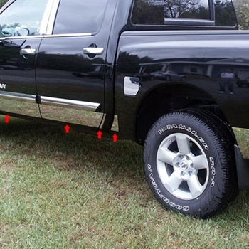 Nissan Titan Crew Cab Rocker Panel Set (without rear cargo box) , 2004, 2005, 2006, 2007, 2008, 2009, 2010, 2011, 2012, 2013, 2014