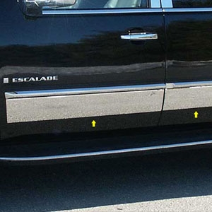 Cadillac Escalade Chrome Rocker Panel Trim, 4pc. Set, 2007, 2008, 2009, 2010, 2011, 2012, 2013, 2014
