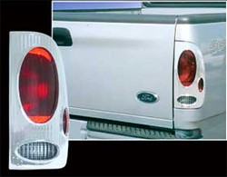 "Ford F150 ""Fleetside"" Chrome Tail Light Bezels, Euro Design, 1997, 1998, 1999, 2000, 2001, 2002, 2003"