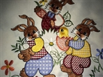 Delightful Easter Table Runner Cutest Embroidered Bunnies Daffodils Cutwork