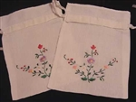 2 Linen Gift Bags Delicate Floral Embroidery ~ Many Uses!