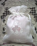 2 Elegant White Linen Gift Bags Appenzell Embroidery
