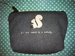 CUTEST Squirrel Canvas Coin Purse All the Worlds a Melody Zippered Gray