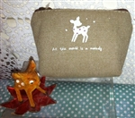 Cutest DEER Canvas Coin Purse All the Worlds a Melody Zippered Khaki Color