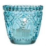 Beautiful Aqua Blue Faceted Glass Tealight Votive Holder Dazzling