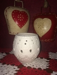 White Bisque Porcelain Votive or Tealight Holder Pressed Lace Beauty