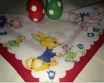 Childs Handkerchief Hankie Bunny Lamb Bear Elephant Red Border Easter