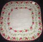 Unique Rounded Shape Vintage Hankie Handkerchief Red Pink Shaded Roses