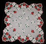 Apples Apple Blossoms Polka Dots Vintage Ladies Handkerchief Prisitne