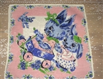 Most Precious Vintage Childs Hankie Bunny & Puppy Play Pink Blue