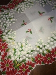 Hard to Find Vintage Christmas Hankie Poinsettia Lily of the Valley