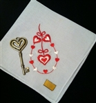 Darling Design Vintage Valentine Handkerchief Original Label Embroidered