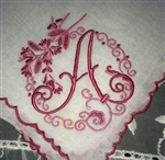 A Initial Monogrammed Hankie Vintage Madeira Linen Gorgeous Raspberry Pink