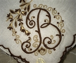 B Initial Beautiful Brown & Taupe Pristine Vintage Madeira Linen Handkerchief