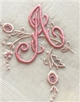 A Initial Monogrammed Hankie Vintage Madeira Linen Precious Pink Embroidery