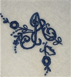A Initial Monogrammed Hankie Vintage Madeira Linen Precious Navy Blue Embroidery