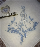 A Monogram Handkerchief STUNNING Embroidery Vintage Madeira Blue for Bride