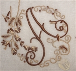 A Initial Beautiful Brown & Taupe Pristine Vintage Madeira Linen Handkerchief