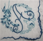 A Initial Monogrammed Hankie Vintage Madeira Linen Gorgeous Navy Blue