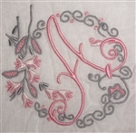 A Initial Monogrammed Hankie Vintage Madeira Linen Gorgeous Light Pink and Gray