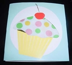 CUTE Polka Dot Hankie Cupcake Greeting Card CHERRY