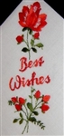 BEST WISHES Red Roses Swiss Made Ladies Handkerchief Hankie
